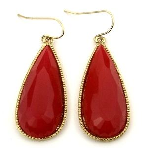 Gold-Tone Red Stone Oval-Shaped Drop Earrings